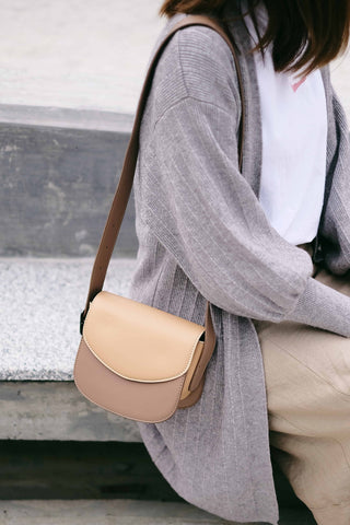 Two Tone Box Cross Body Bag - Beige