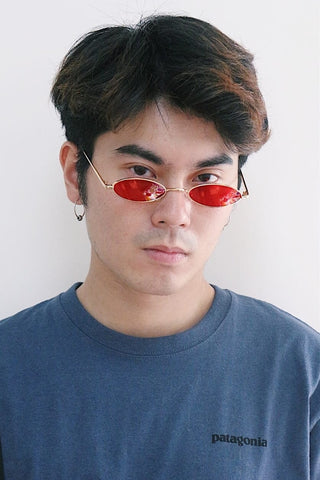 Slim Oval Sunglasses with Red Lenses