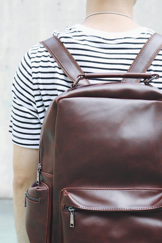 Classic Leather-Look Backpack