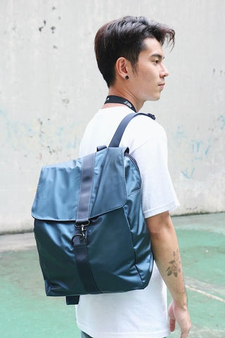 Blue Nylon Backpack