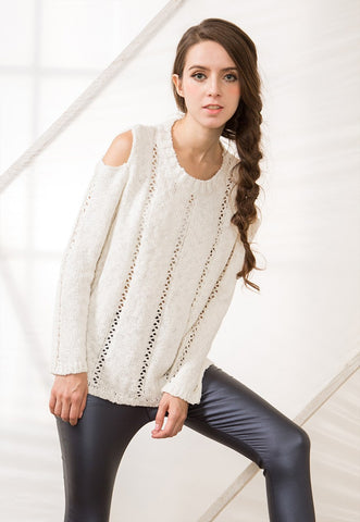 Chunky Knit Jumper with Cold Shoulder