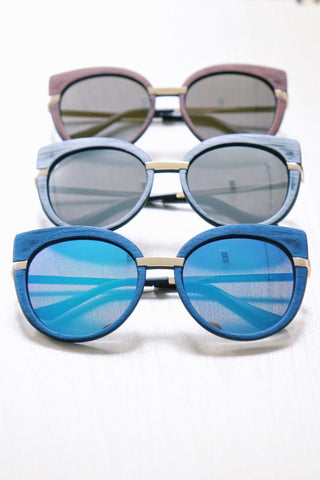 Wooden-Look Cat Eye Sunglasses - Blue