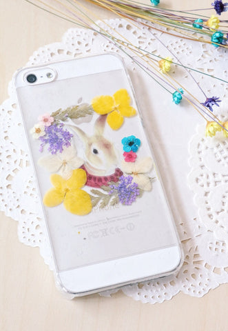 Handmade Rabbit Real Pressed Flowers Phone Case