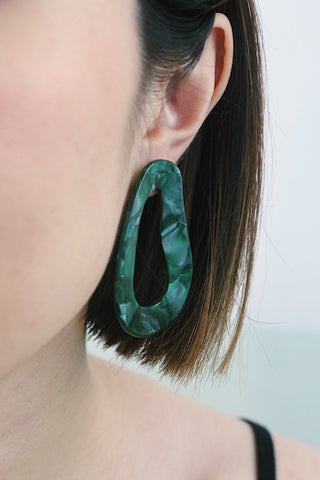 Resin Shape Earrings - Green