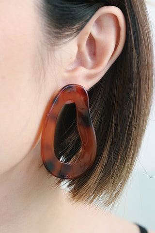 Resin Shape Earrings - Brown