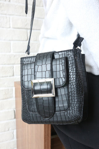 Mock-Croc Buckle Shoulder Bag - Black