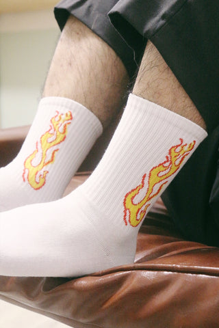 Fire Flame Socks - White