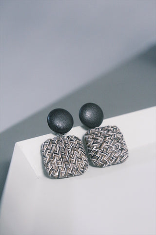 Tweed and Leather Drop Earring in Black
