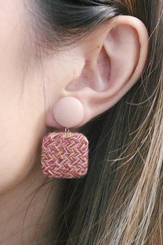 Tweed and Leather Drop Earring in Pink