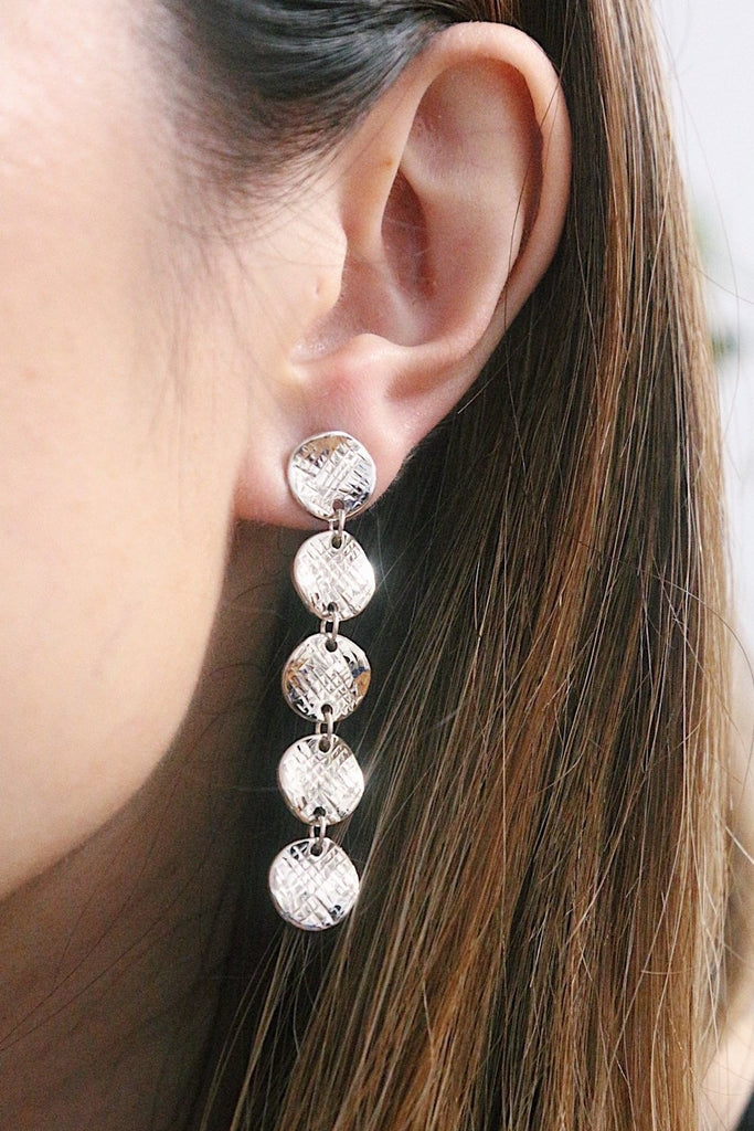 Discs Drop Earrings - Silver