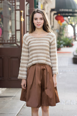 Stripe Cropped Fluffy Jumper with Cut Out Back