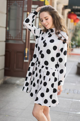 Polka Print Shirt Dress with Pleating