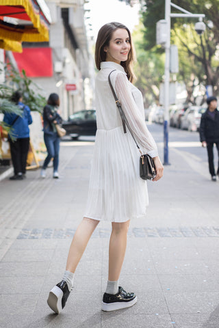 Lace Shirt Dress with Pleated Skirt