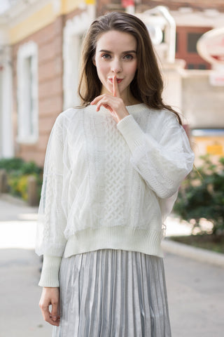 Layered Mesh Cable Knit Jumper