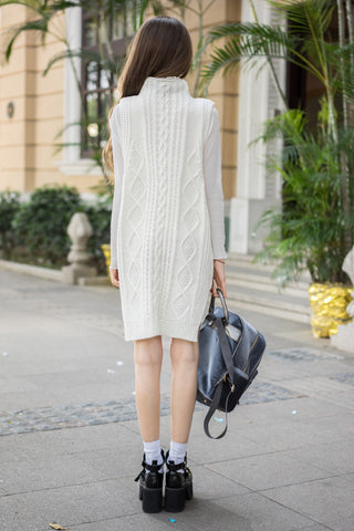 Cable Knit Vest Dress with Turtle Neck