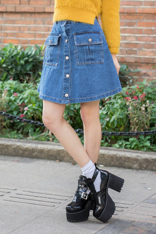 Denim Button Through Skirt