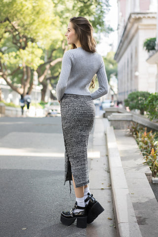 Knitted Pencil Skirt with Lace-Up Details