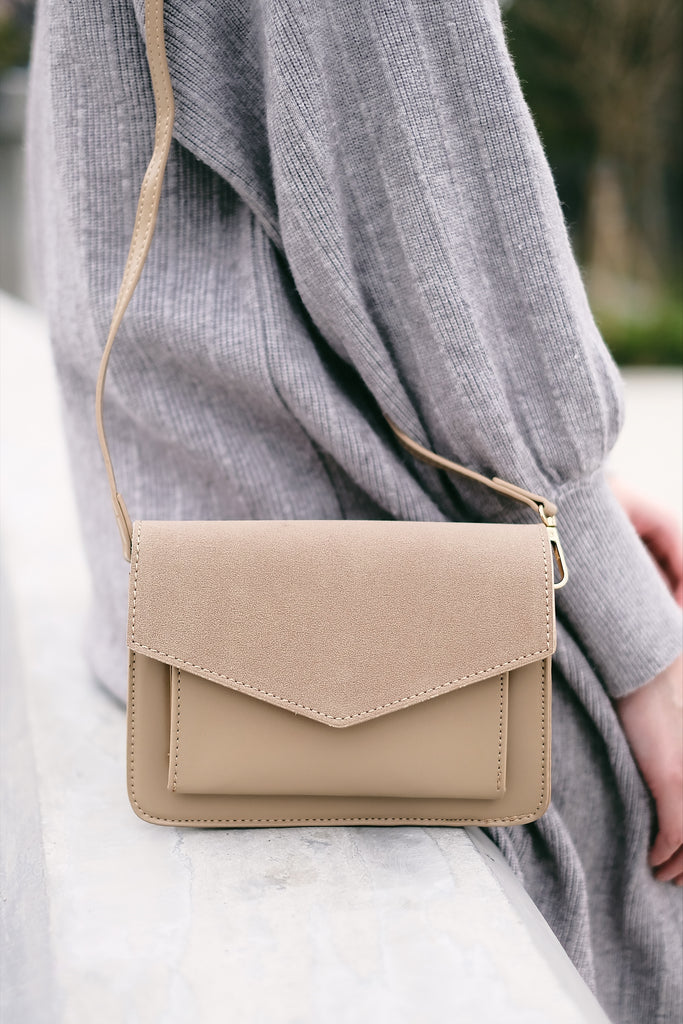 Leather and Suede Minimalist Cross Body Bag - Beige