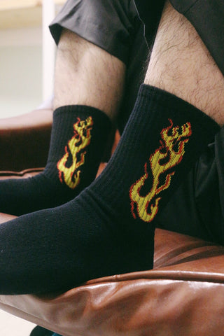 Fire Flame Socks - Black