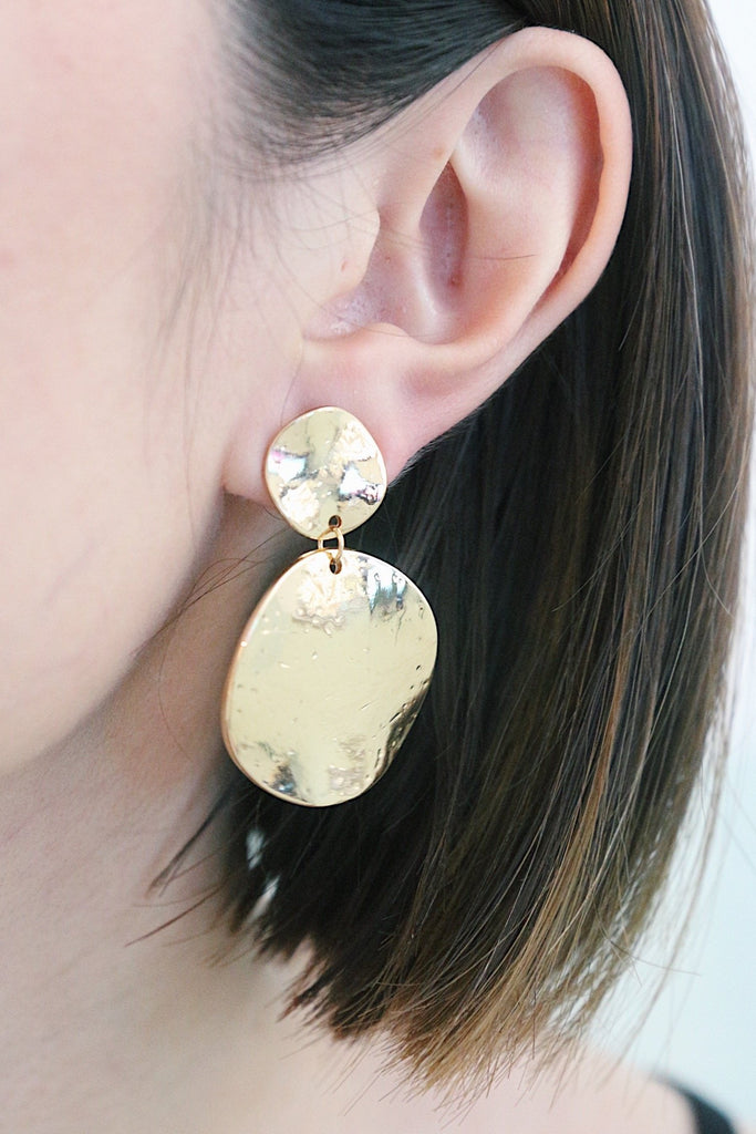Hammered Disc Earrings in Gold