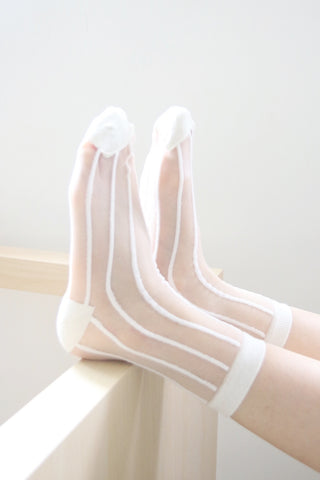 Stripe Sheer Socks - White