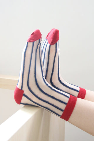 Stripe Sheer Socks - Red