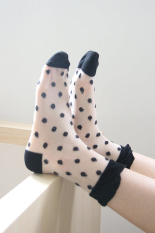 Polka Dot Sheer Socks - Black