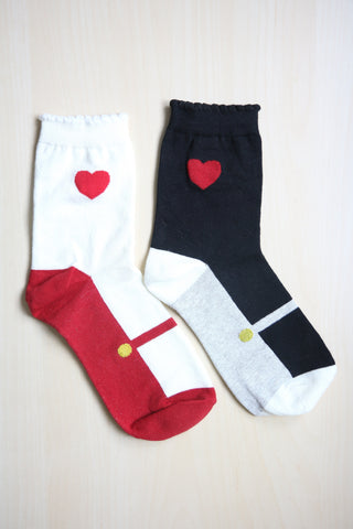 Scallop Heart Socks with Shoe Print - White