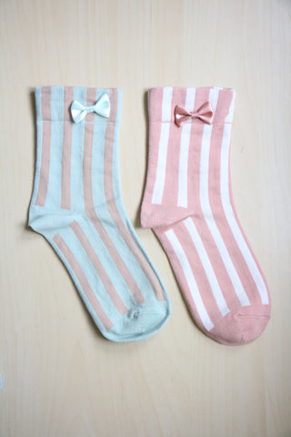 Bow Striped Socks - Pink