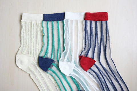 Stripe Sheer Socks - Green