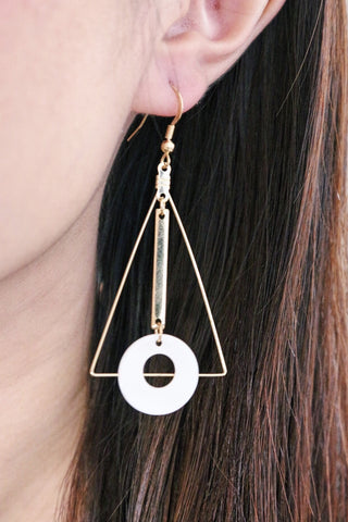 Triangle Drop Disc Earrings - White Hoop
