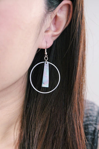 Circle & Bar Earrings - Iridescent