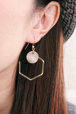 Pentagon Shell Earrings - Iridescent