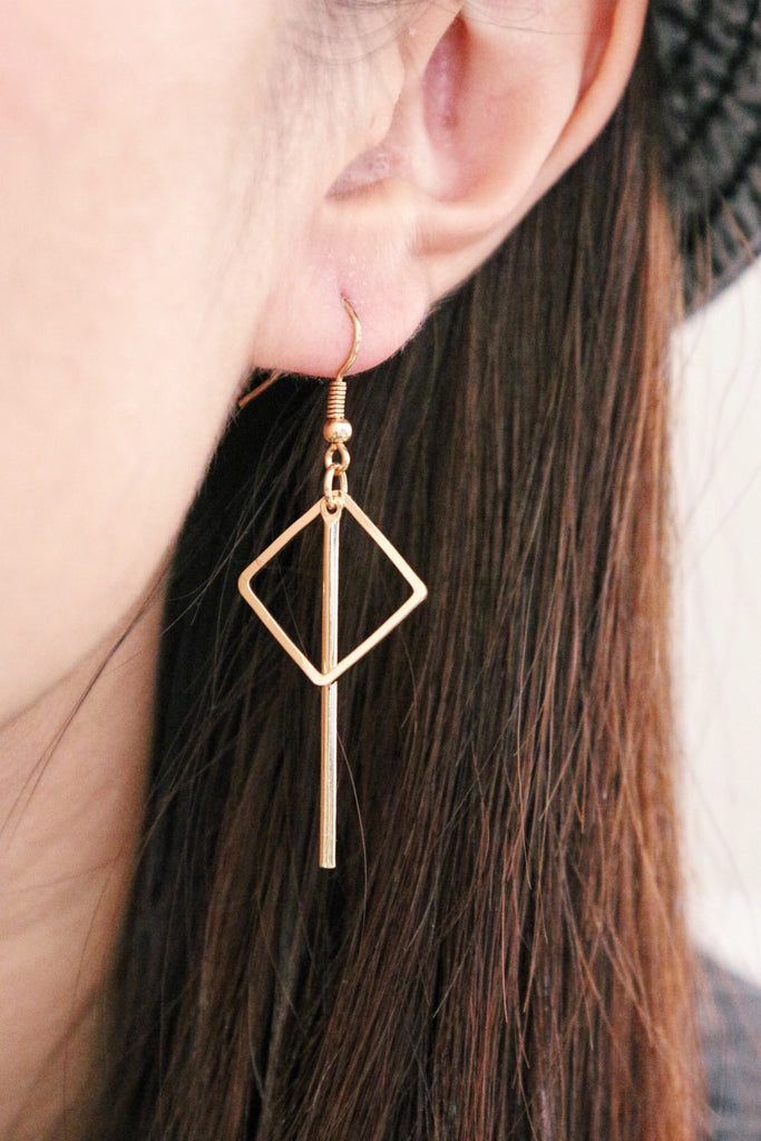 Square Drop Earrings - Gold