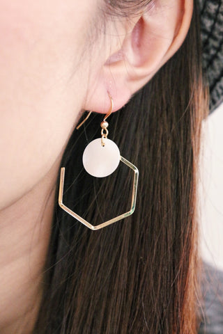 Pentagon Shell Earrings - White