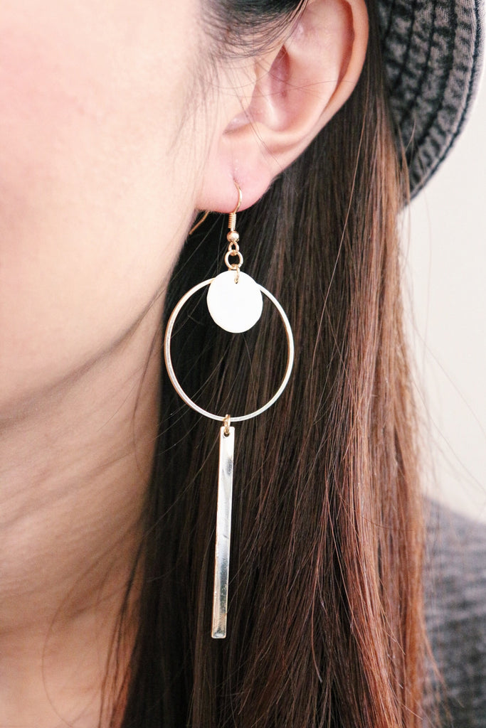Disc Drop Hoop Earrings - White