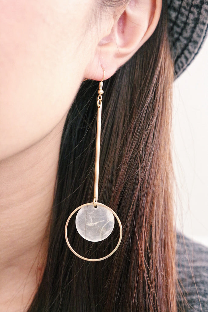 Moon Hoop Drop Earrings