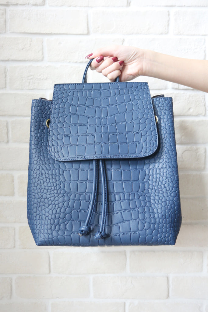 Mock-Croc Minimal Blue Backpack
