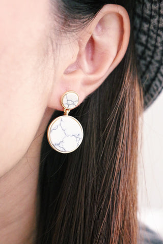 Marble Swing Earrings - White
