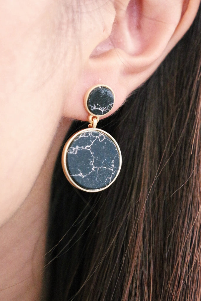 Marble Swing Earrings - Black