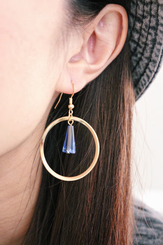 Circle & Gem Earrings - Blue