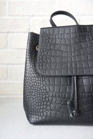 Mock-Croc Minimal Black Backpack