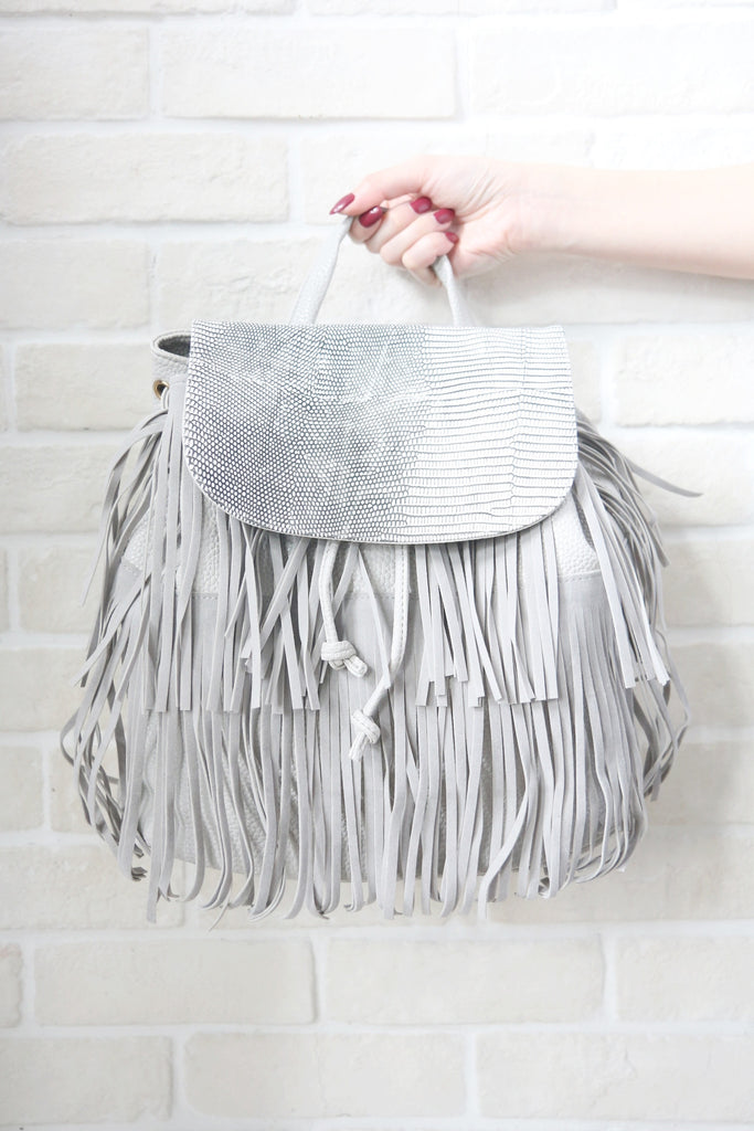 Tassel Backpack With Mock Croc Detail