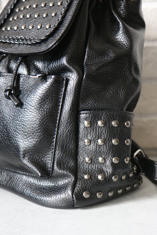 Studded Backpack with Braid Detail