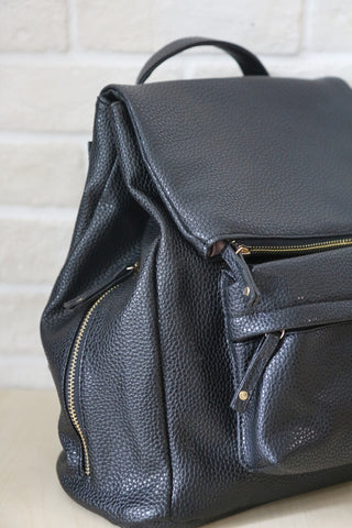 Shalex Fold Over Front Pocket Backpack - Black