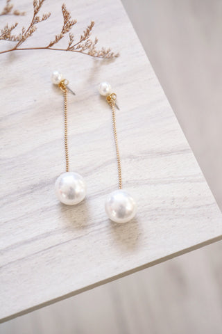 Double Pearl Dangle Earrings