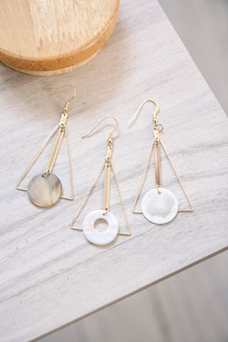 Triangle Drop Disc Earrings - White