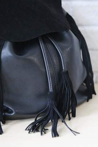 Suede Flap Tassel Backpack - Black