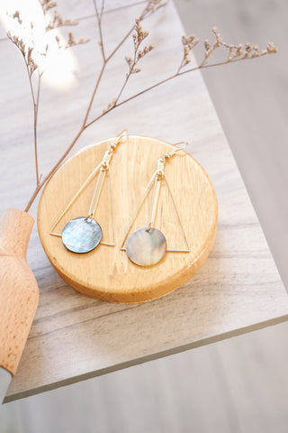 Triangle Drop Disc Earrings - Iridescent