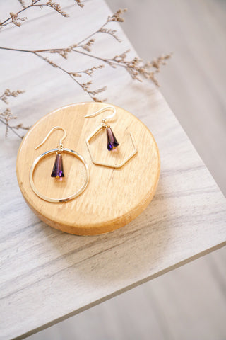 Circle & Gem Earrings - Purple